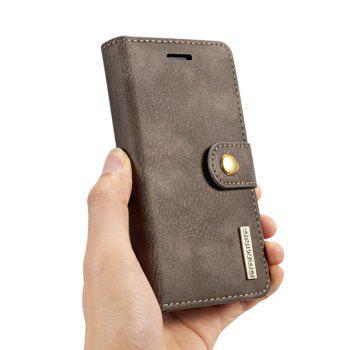 DG.MING Premium Genuine Cowhide Leather Case with Detachable Magnetic Back Cover for iPhone 7 Plus / 8 Plus - GRAY