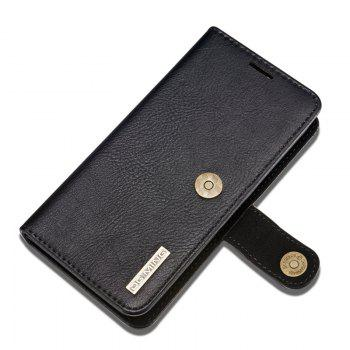 DG.MING Premium Genuine Cowhide Leather Case with Detachable Magnetic Back Cover for iPhone 7 Plus / 8 Plus - BLACK