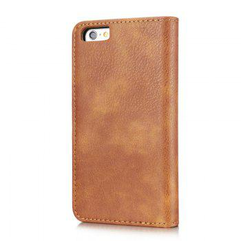 DG.MING Premium Genuine Cowhide Leather Case with Detachable Magnetic Back Cover for iPhone 6 Plus / 6s Plus - BROWN