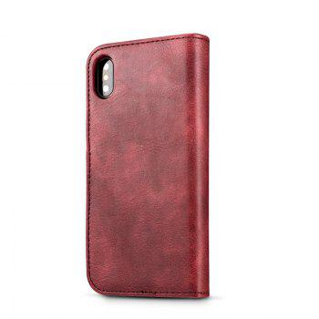 DG.MING Premium Genuine Cowhide Leather Case with Detachable Magnetic Back Cover for iPhone X - RED