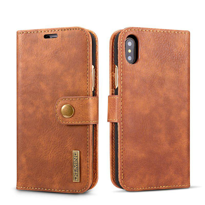 DG.MING Premium Genuine Cowhide Leather Case with Detachable Magnetic Back Cover for iPhone X - BROWN