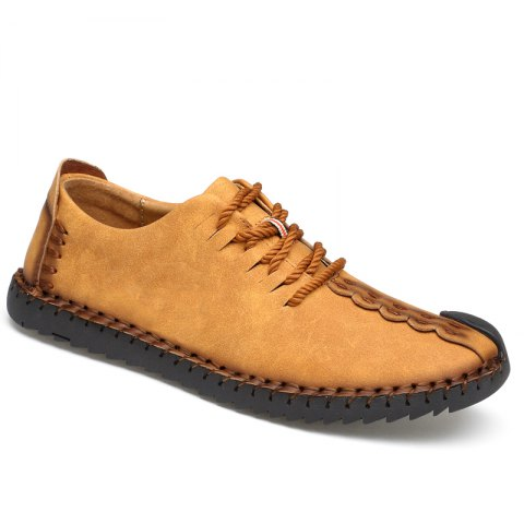 Lace-Up No Glue Pure Manual Big Shoes - YELLOW 38