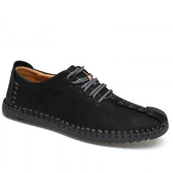 Lace-Up No Glue Pure Manual Big Shoes - BLACK BLACK