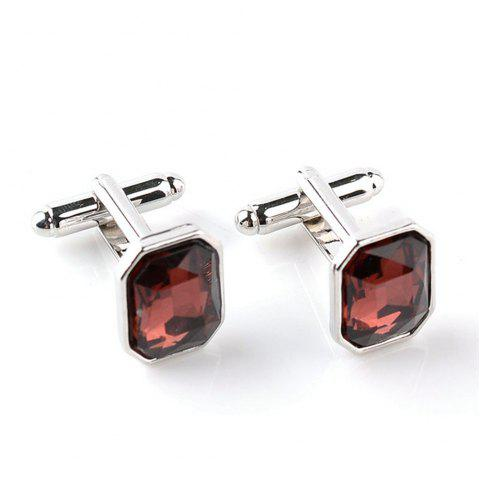 Men's Diamond Encrusted Crystal French Shirt Cuff Links - BROWN