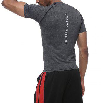 Men'S Fashion Quick-drying Tight Fitness Short Sleeves Breathable Sports Gym Clothes - GREY GREY