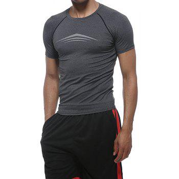 Men'S Fashion Quick-drying Tight Fitness Short Sleeves Breathable Sports Gym Clothes - GREY M
