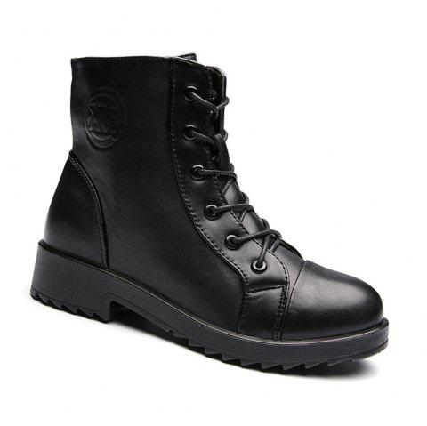 PU Leather Warm Fur Snow Polyurethane Outsole Boots - BLACK 35