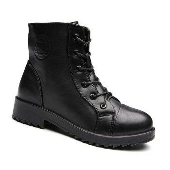 PU Leather Warm Fur Snow Polyurethane Outsole Boots - BLACK BLACK