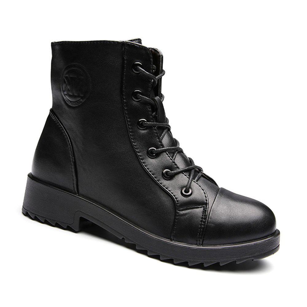 PU Leather Warm Fur Snow Polyurethane Outsole Boots - BLACK 38