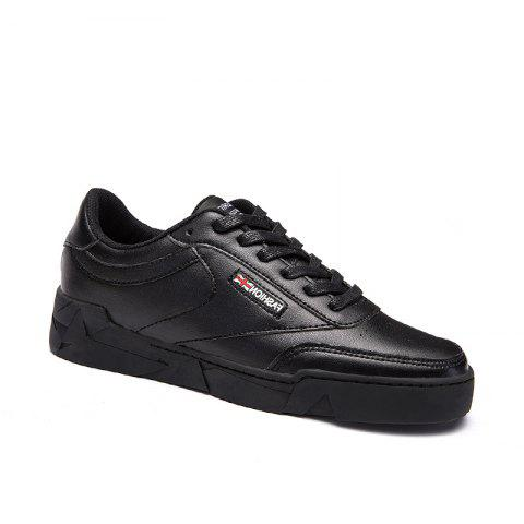 Low Vamp Solide Casual Lace Up Chaussures plates - Noir 40