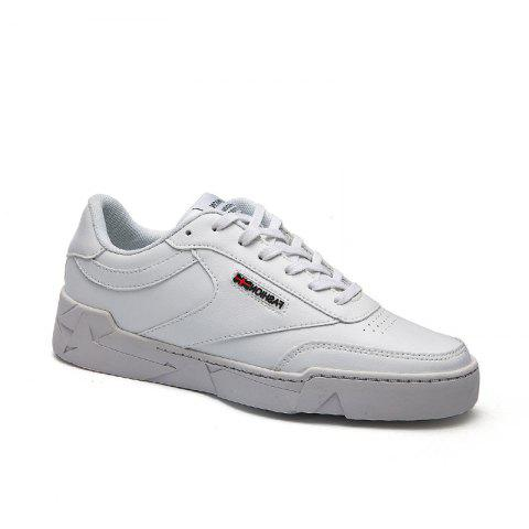 Low Vamp Solide Casual Lace Up Chaussures plates - Blanc 40