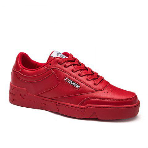 Low Vamp Solide Casual Lace Up Chaussures plates - Rouge 40