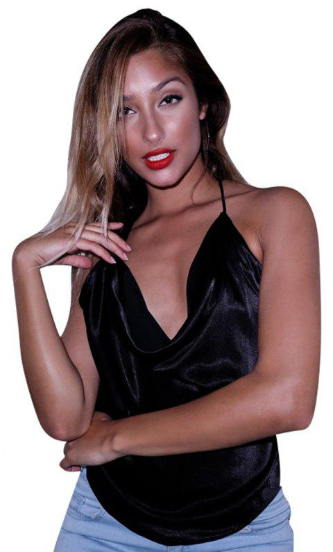 Sexy V-Neck Nightclub with Halter Neck Strapless Sleeveless Cami Top - BLACK L