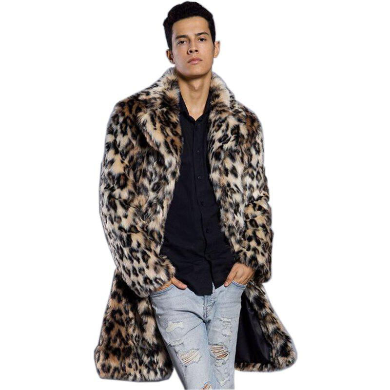Faux Fur Coat Men's Leopard Turndown Collar Long Sleeve Regular Fit Long Coat faux fur coat