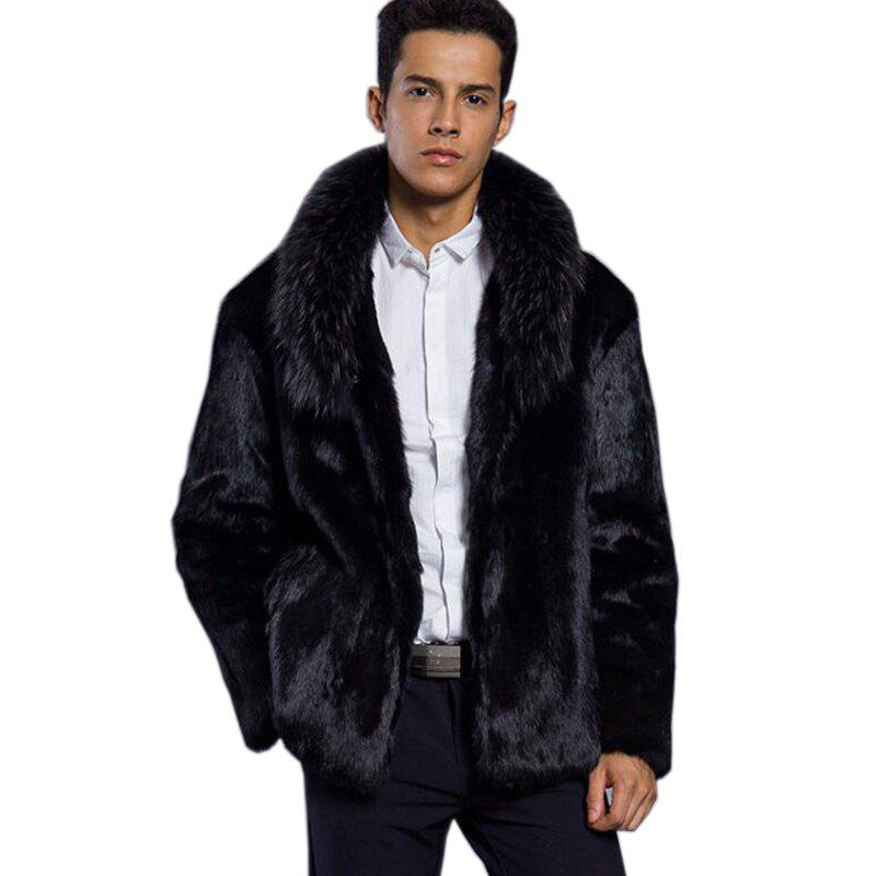 Faux Fur Coat Men Coat Black Turndown Collar Long Sleeve faux fur coat