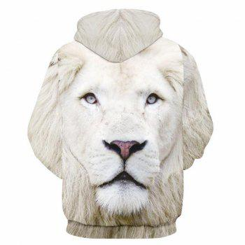 Men Casual 3D Print Hoodie Lion Print Sweatshirt - WHITE XL