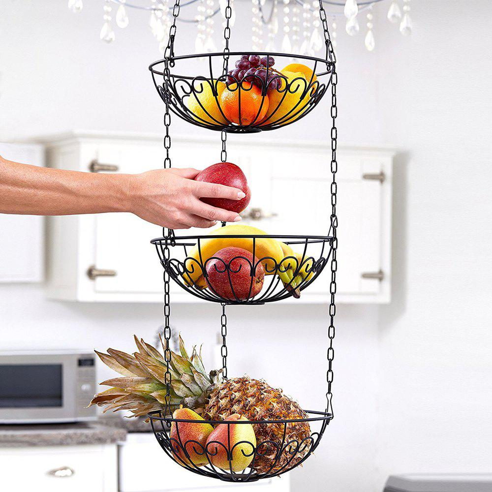 3 - Tier Wire Hanging Basket Fruit Vegetable Basket - BLACK