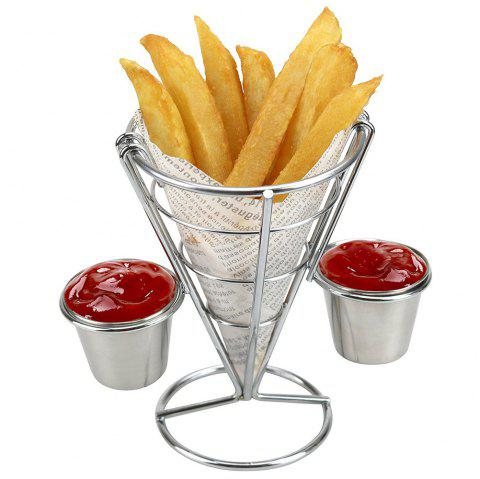 French Fry Holder with Double Sauce Stand Cone Fries Holder Holds  Popcorn Vegetables Fruit and Other Appetizers - SILVER