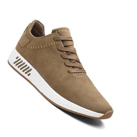 Men Casual outdoor Trend for Fashion Lace Up Leather Shoes - BROWN 42