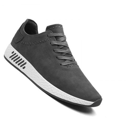 Men Casual outdoor Trend for Fashion Lace Up Leather Shoes - GRAY 43