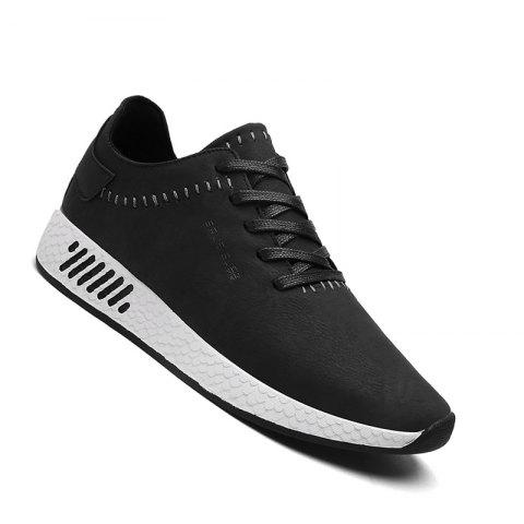 Men Casual outdoor Trend for Fashion Lace Up Leather Shoes - BLACK 42