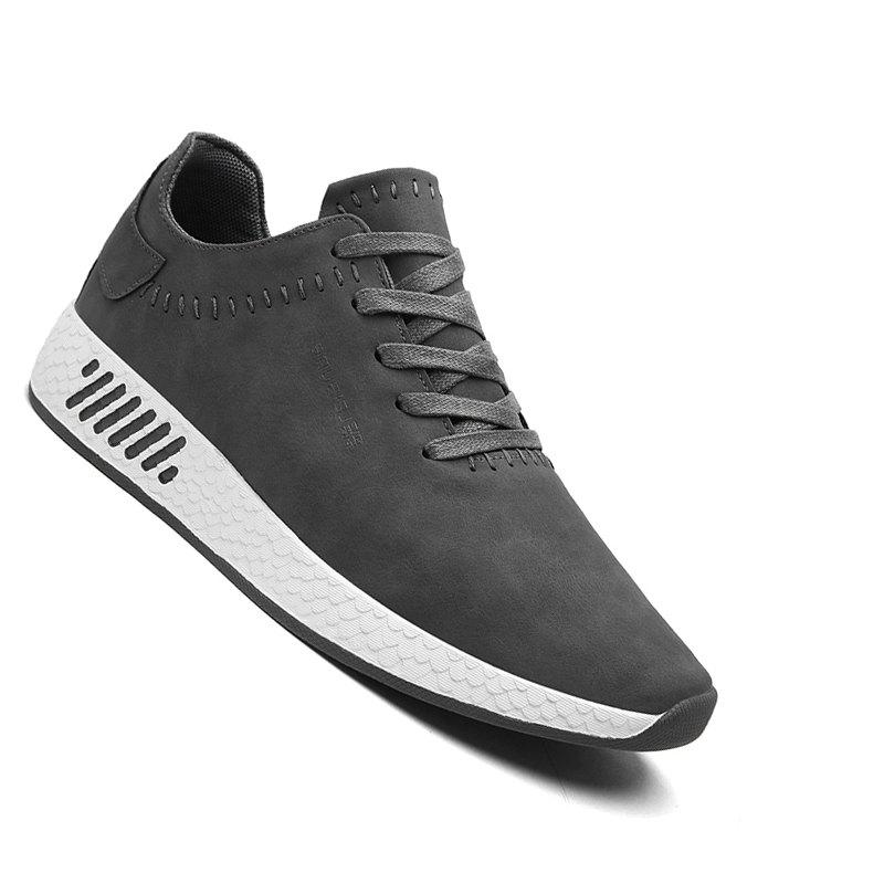 Men Casual outdoor Trend for Fashion Lace Up Leather Shoes - GRAY 44