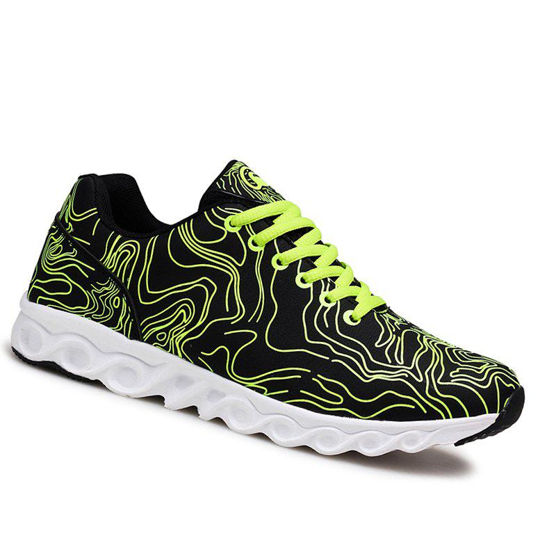 Men Casual Fashion Running Walking Basketball Leisure Shoes Male Breathable Walking Sneakers - GREEN 44