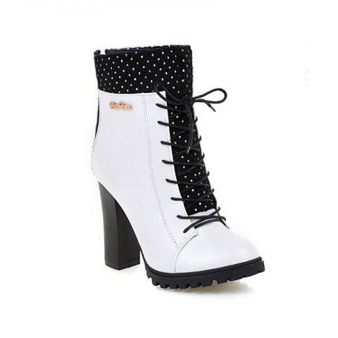 dcbd09f0c8 17% OFF] 2019 Round Heel Fashion Lace Up Short Boots In WHITE ...