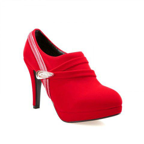 Round Table with Ultra Fine Waterproof All-Match High-Heeled Boot - RED 40