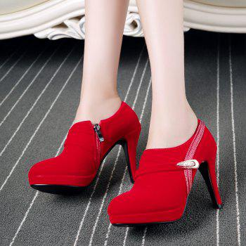 Round Table with Ultra Fine Waterproof All-Match High-Heeled Boot - RED RED