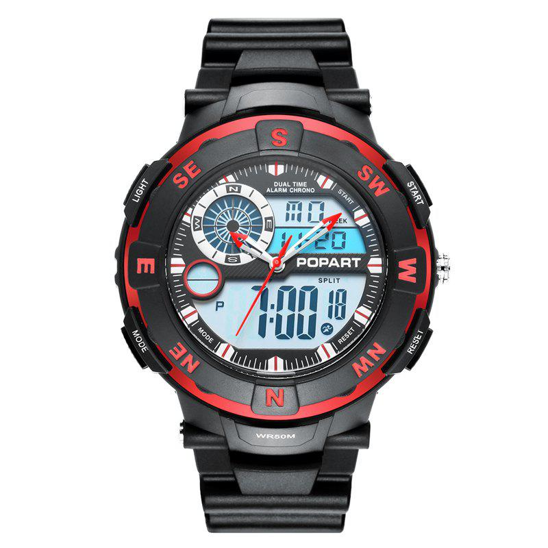 POPART POP831AD Trendy Sports Rubber Band Men Quartz Watch - RED