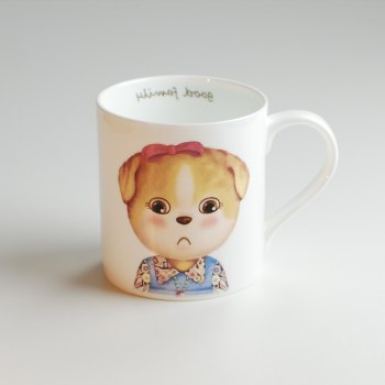 350ML Cartoon Creative Dog Series Cup - PINKISH BLUE PINKISH BLUE