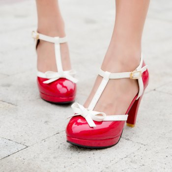 Women's Sandals Mixed Color Sweet Style Bow Knot Thick Heel Shoes - RED 35