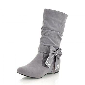 Fashion Rider Lady Bows Boots - GRAY 40