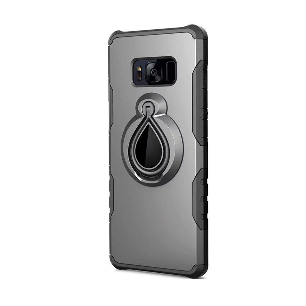 Case for Samsung Galaxy S8 Metal Ring Holder Combo Phone Bag Luxury Shockproof - GRAY