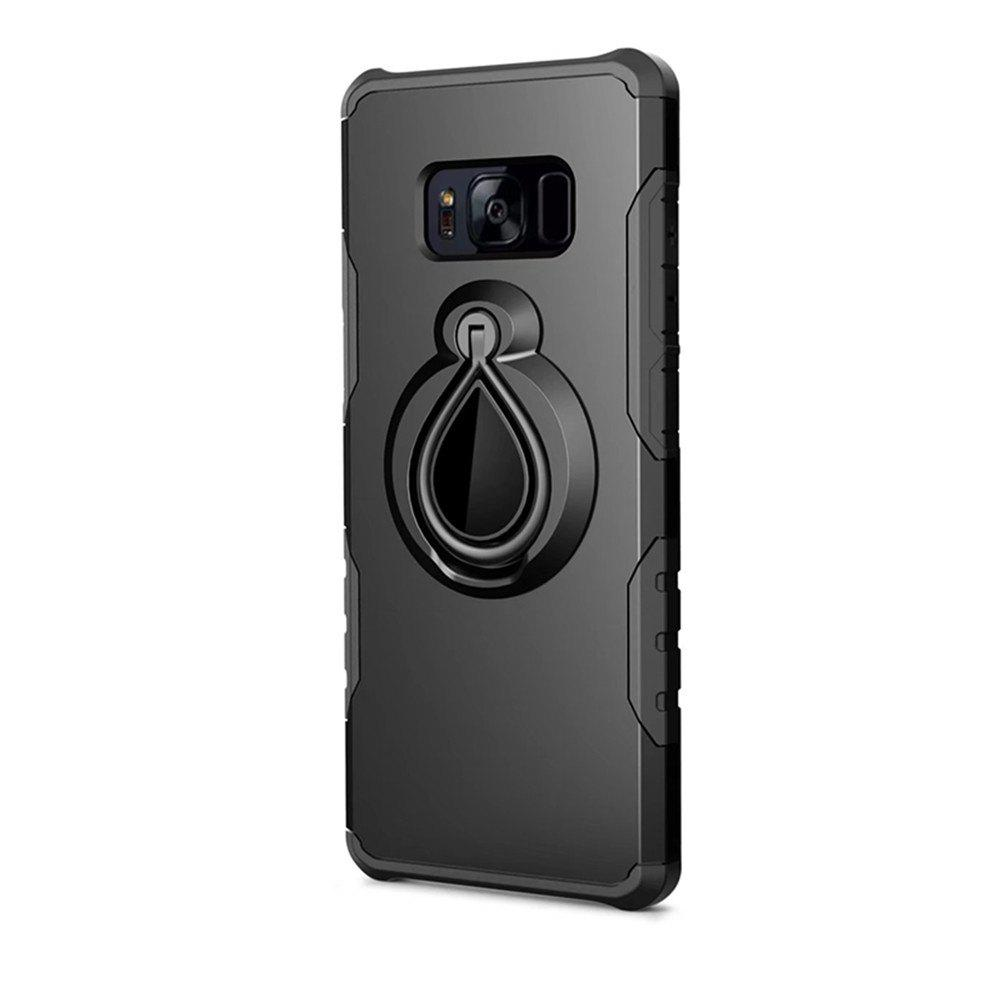 Case for Samsung Galaxy S8 Metal Ring Holder Combo Phone Bag Luxury Shockproof - BLACK