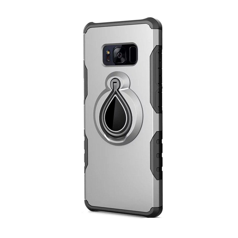 Case for Samsung Galaxy S8 Metal Ring Holder Combo Phone Bag Luxury Shockproof - SILVER