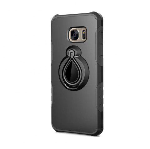 Case for Samsung Galaxy S7 Edge Metal Ring Holder Combo Phone Bag Luxury Shockproof - BLACK