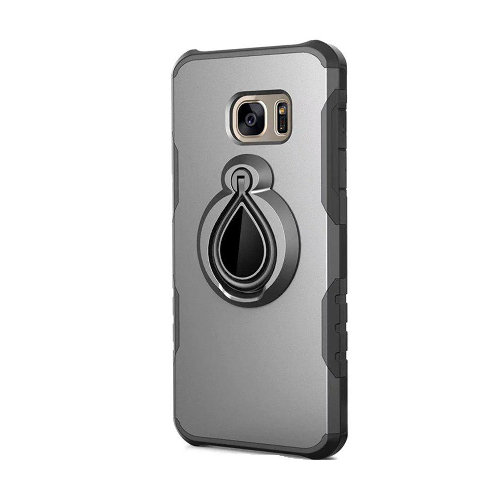 Case for Samsung Galaxy S7 Metal Ring Holder Combo Phone Bag Luxury Shockproof - GRAY