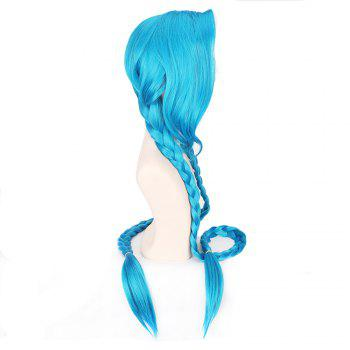 Blue Color Long Braid Women Hallowen Christmas Party Cosplay Wig - BLUE
