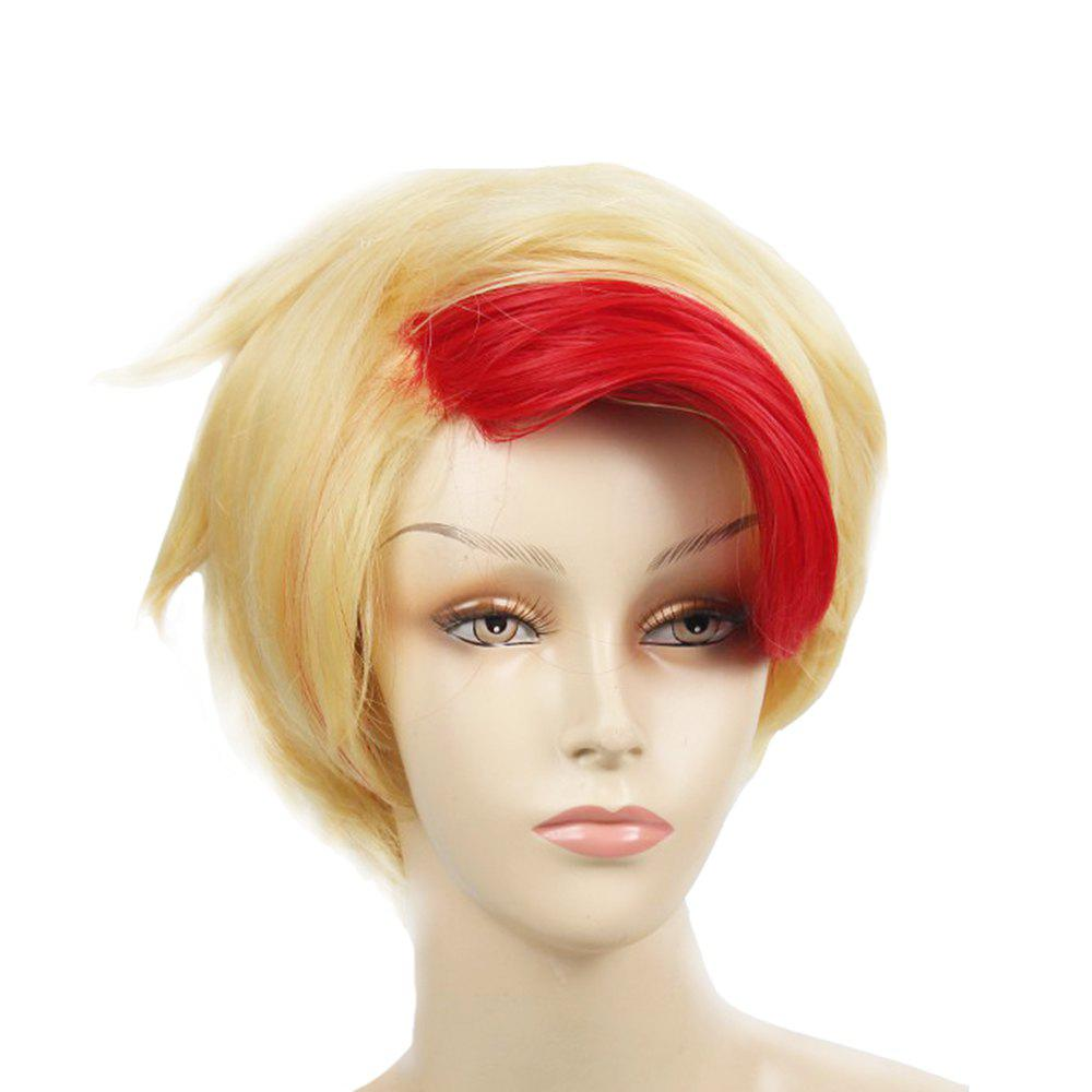Short Red and Gold color Hair Heat Resistant Fiber Wig for Halloween Party - GOLD