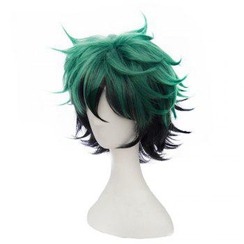 Short Green Color Halloween / Christmas Party Cosplay Wig for Men - GREEN