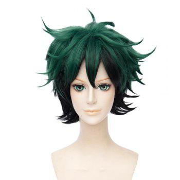 Short Green Color Halloween / Christmas Party Cosplay Wig for Men - GREEN GREEN