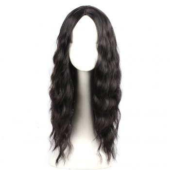 Black Color Synthetic Hair Body Wave Long Wigs with Side Bangs Celebrity Style Pelucas for Africa Women - BLACK BLACK