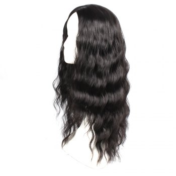 Black Color Synthetic Hair Body Wave Long Wigs with Side Bangs Celebrity Style Pelucas for Africa Women -  BLACK