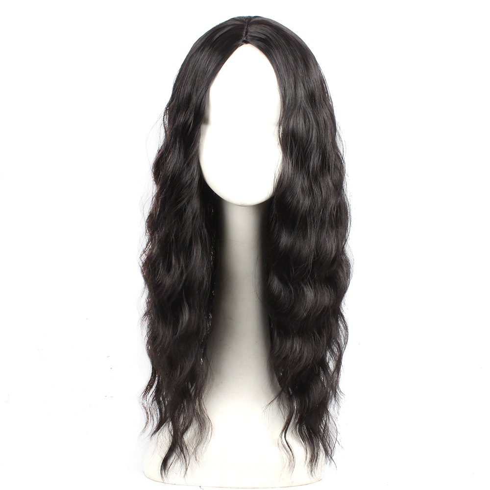 Black Color Synthetic Hair Body Wave Long Wigs with Side Bangs Celebrity Style Pelucas for Women - BLACK