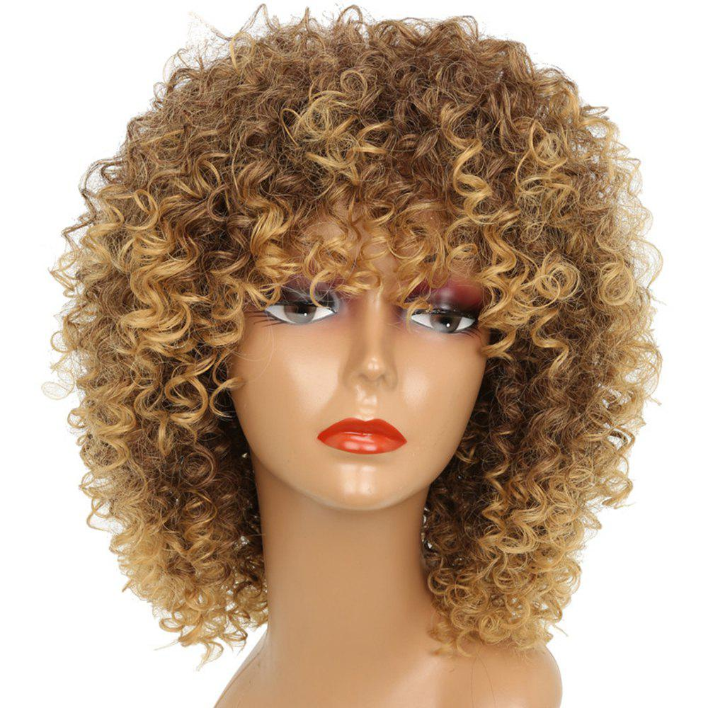 Short Kinky Curly Hair Hot Heat-resistant Synthetic Golden Blonde Mixed Color Wig for African American Women kinky curly african american wigs for black women synthetic ombre lacefront wig natural black ombre blonde cosplay celebrity wig
