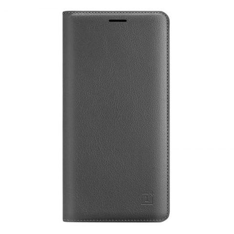 Luxury PU Leather Business Flip Cover Bag Smart Phone Case for One Plus 3 T - GRAY