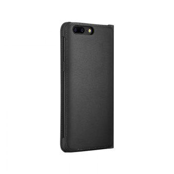 Luxury PU Leather Business Flip Cover Bag Smart Phone Case for One Plus 5 - BLACK