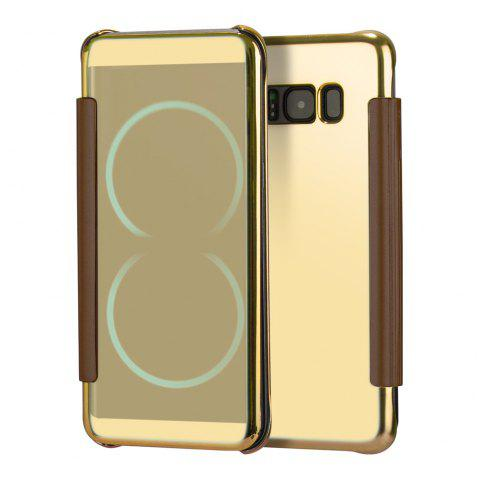 Mirror Plating Flip Ultra Thin Cover for Samsung Galaxy S8 Plus Case - GOLDEN